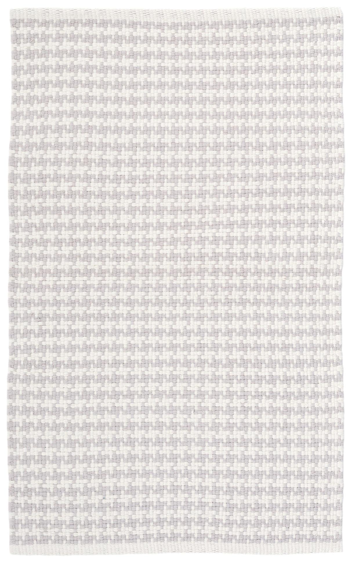 Checks Pearl Grey Woven Cotton Rug