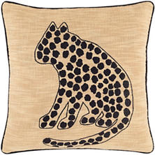 Cheetah Embroidered Decorative Pillow