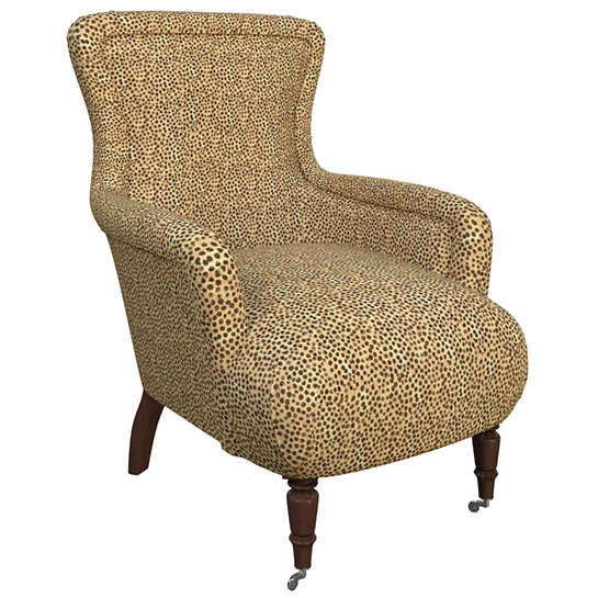 Cheetah Linen Charleston Chair