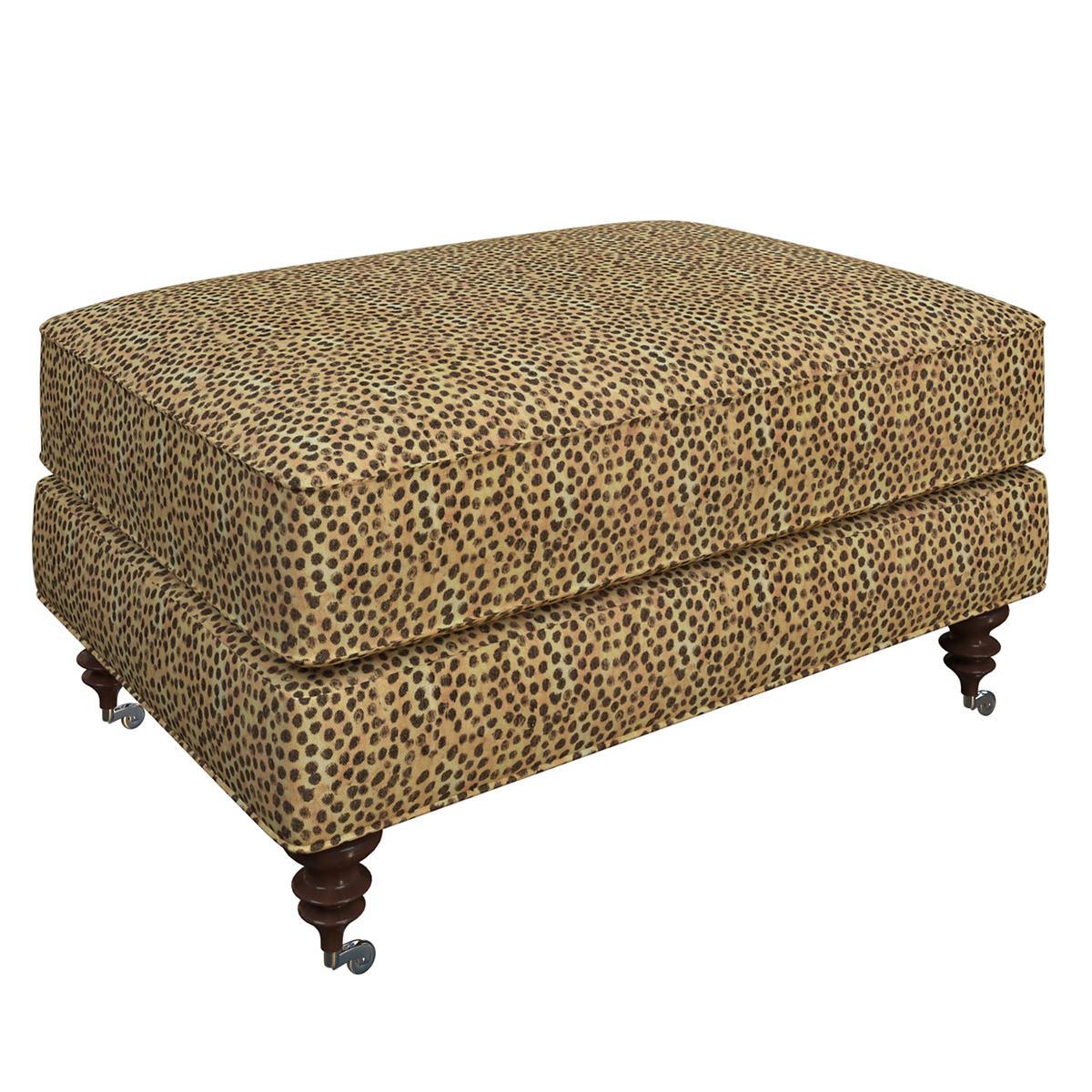 Cheetah Linen Norfolk Ottoman