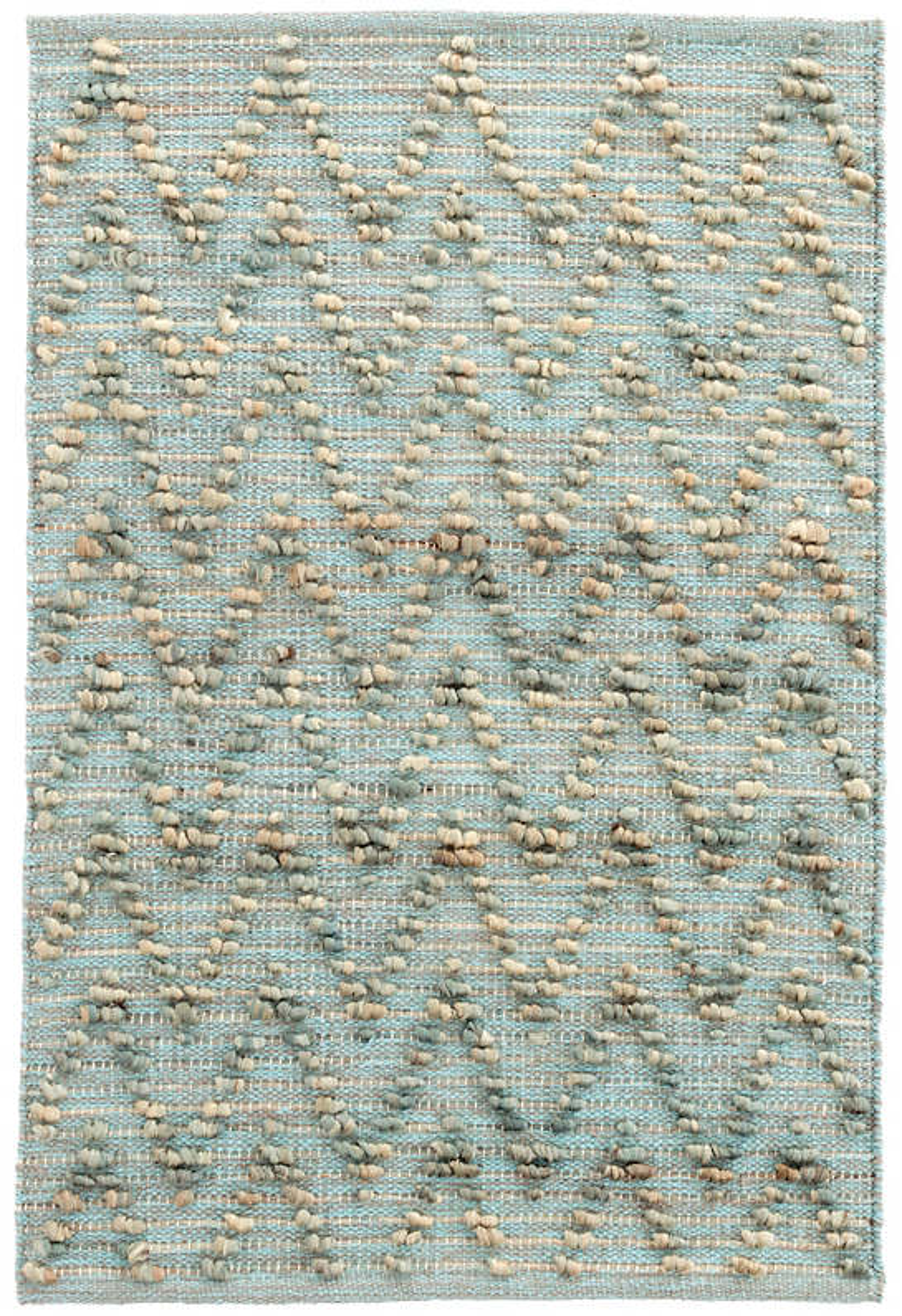 Chevron Aqua Woven Cotton/Jute Rug