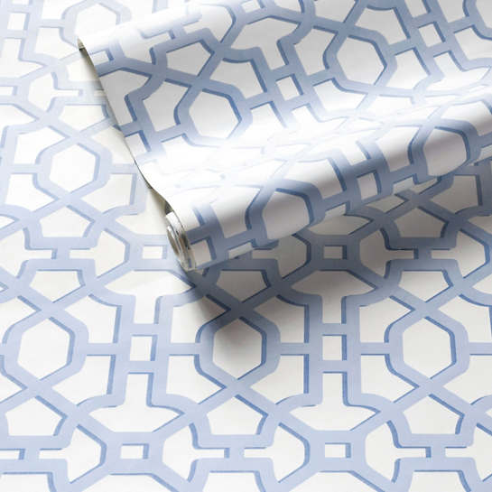 Chinois Lattice French Blue Wallpaper