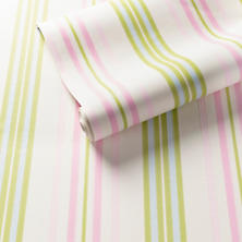 Chloe Stripe Pink/Green Wallpaper