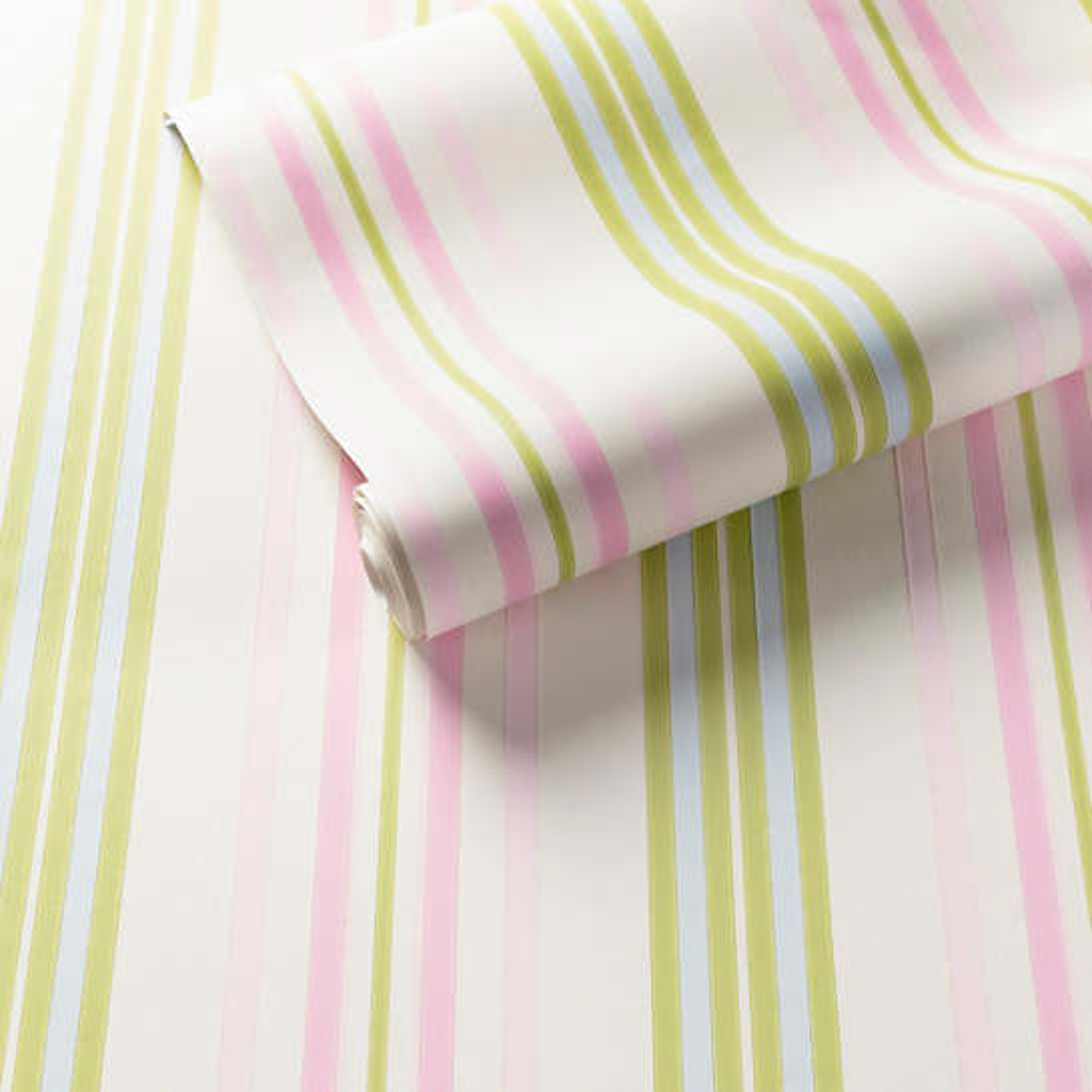 Chloe Stripe Pink/Green Wallpaper