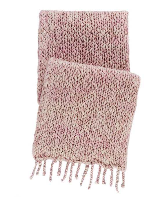Chunky Knit Pink Throw