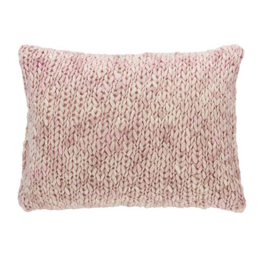 Chunky Knit Pink Decorative Pillow