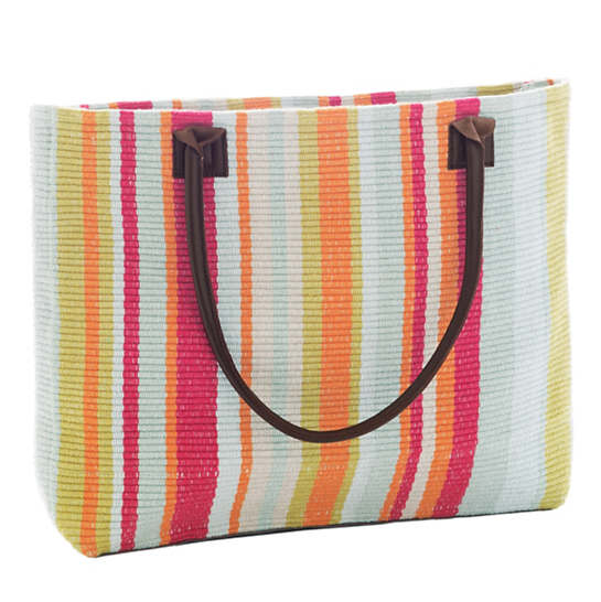 Clara Stripe Woven Cotton Tote Bag