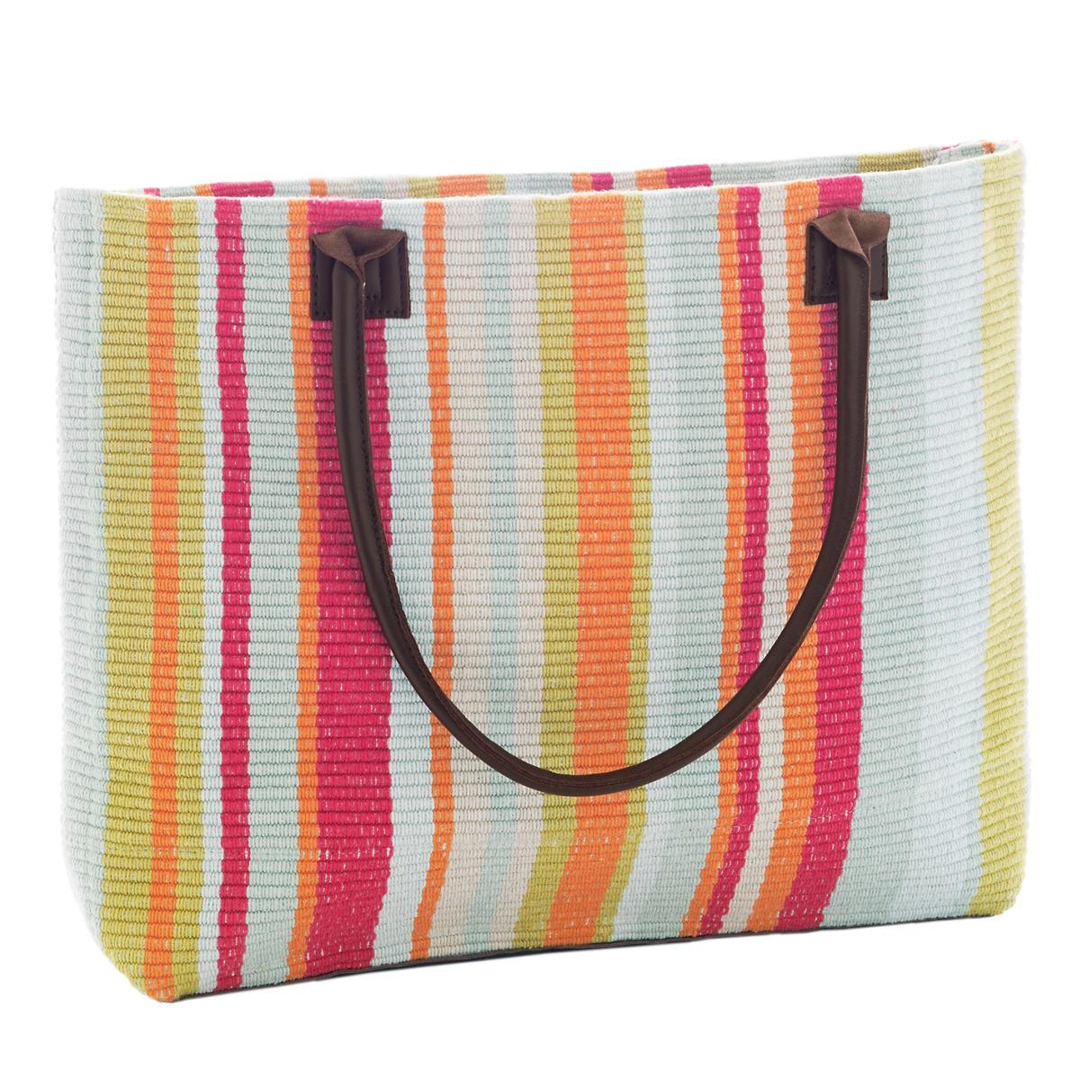 Clara Stripe Woven Cotton Tote Bag