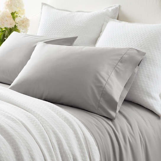 Classic Hemstitch Grey Pillowcases