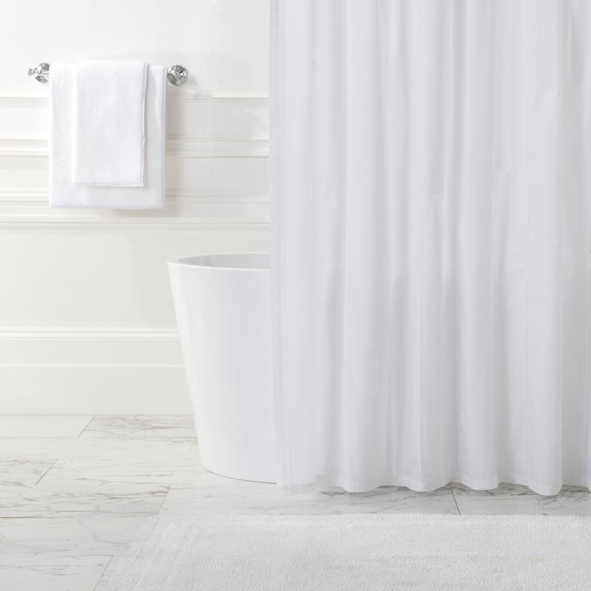 Classic Hemstitch Stripe White Shower Curtain