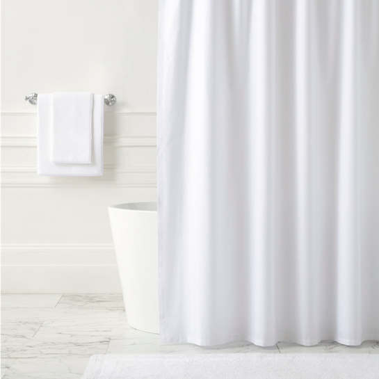 Classic Ruffle White Shower Curtain