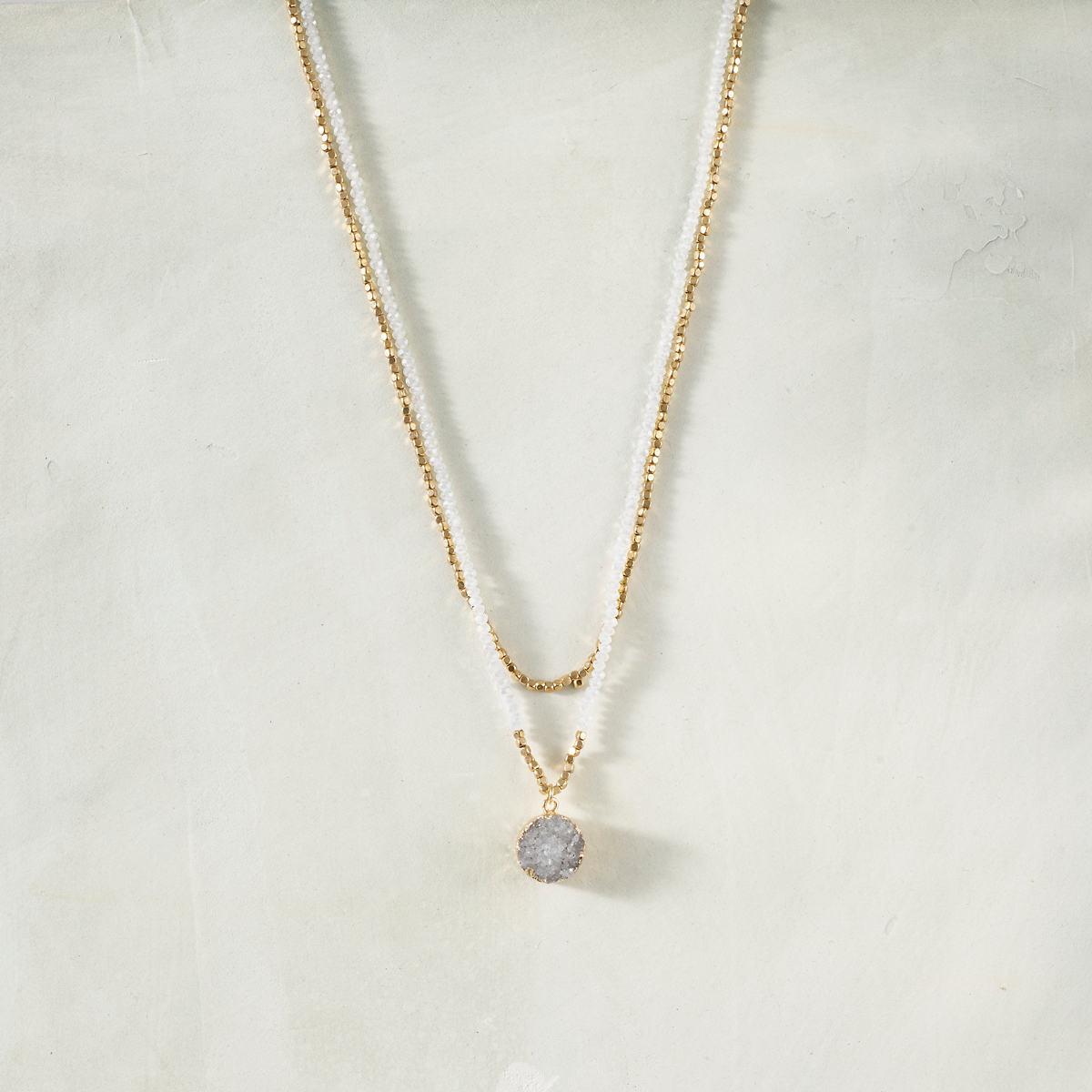 Claudette White Opal Necklace