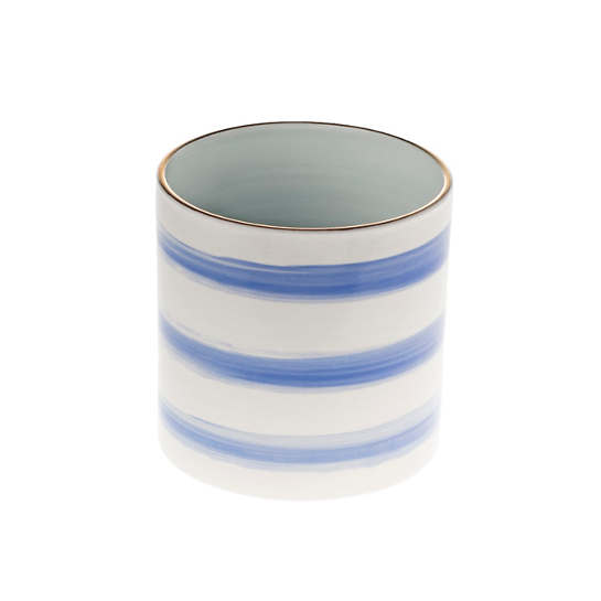 Cobalt Speedy Stripe Peony Cylinder Vase