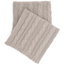 Comfy Cable Knit Pearl Grey Throw