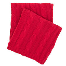 Comfy Cable Knit Red Throw