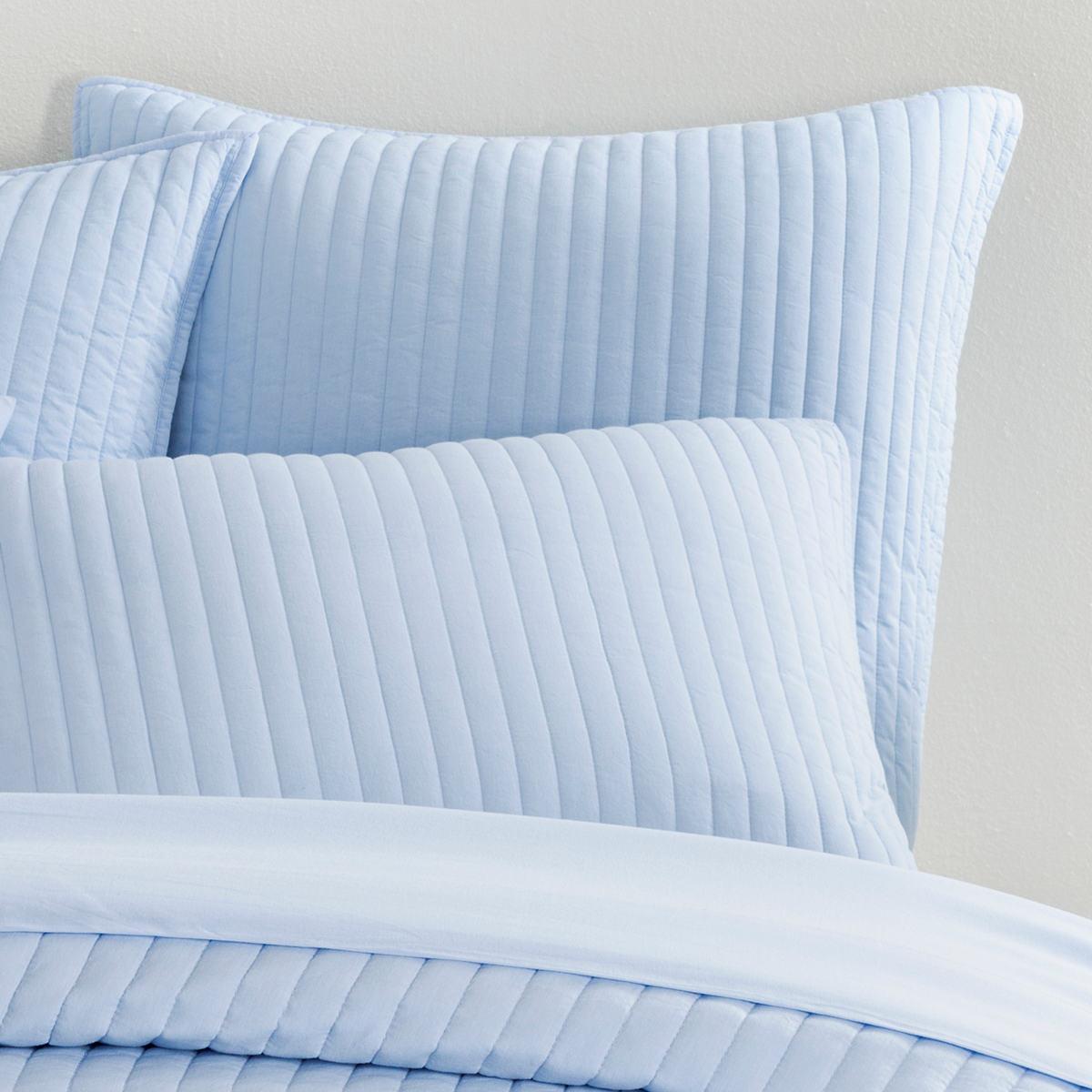 Comfy Cotton Soft Blue Quilted Sham