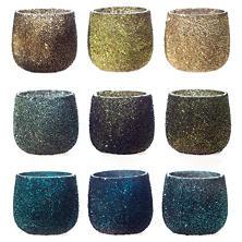 Cool Jewel Tone Sparkle Tealight Holder/Set Of 9