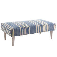 Cottage Stripe French Blue Tapered Cerused Oak Leg Rug Ottoman