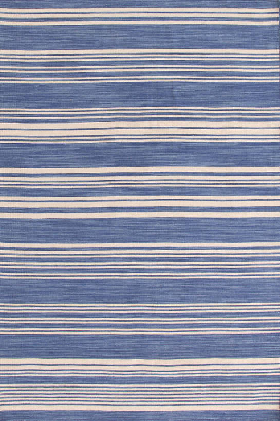 Cottage Stripe French Blue Wool Woven  Rug