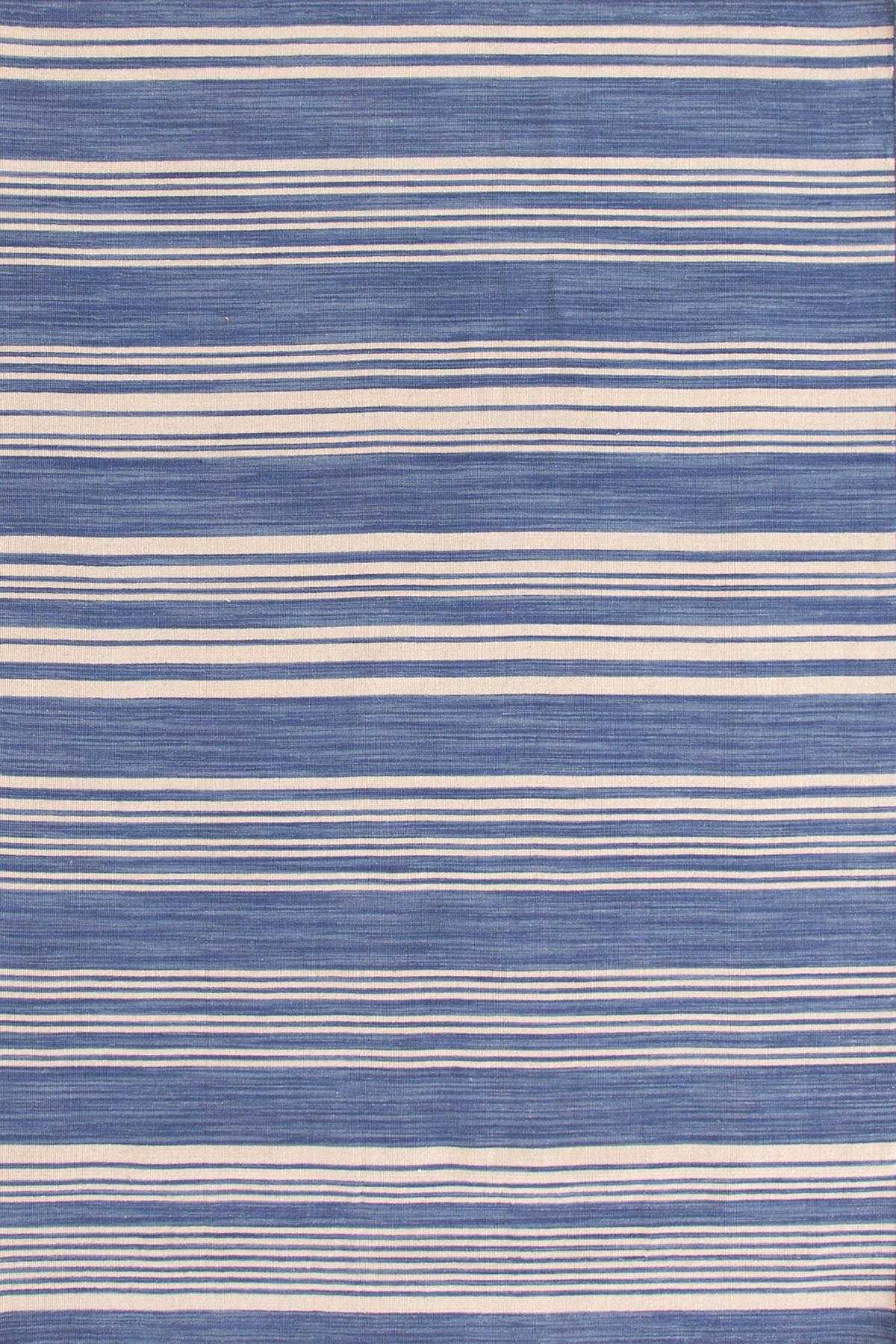 Cottage Stripe French Blue Wool Woven Rug Dash Amp Albert