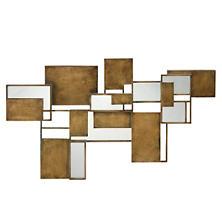 Cubist Antique Brass Mirror / Wall Sculpture