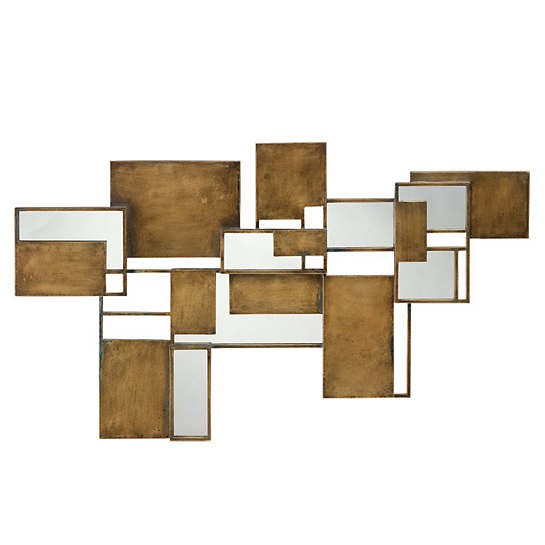 Cubist Antique Brass Mirror / Wall Sculpture