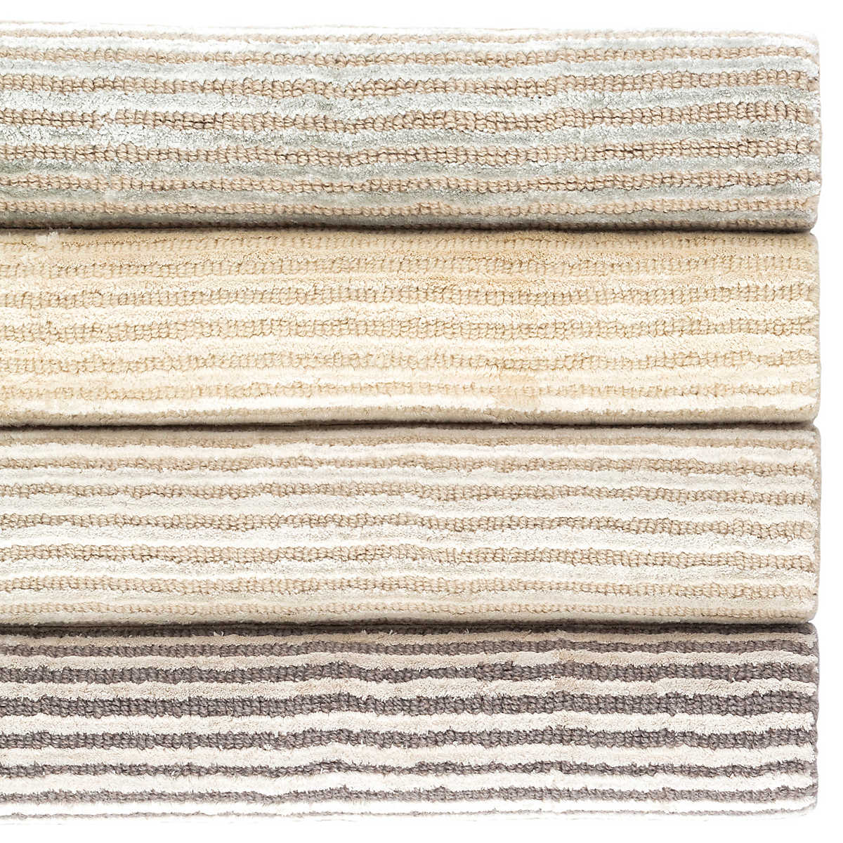 Cut Stripe Grey Hand Knotted Viscose Wool Rug The Outlet