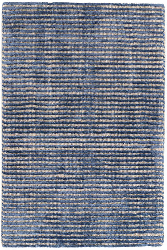 Cut Stripe Indigo Hand Knotted Wool/Viscose Rug