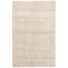 Cut Stripe Ivory Hand Knotted Viscose/Wool Rug