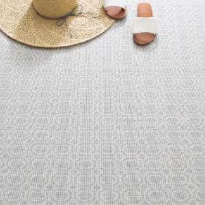 Optic Pale Blue Woven Wool Custom Rug