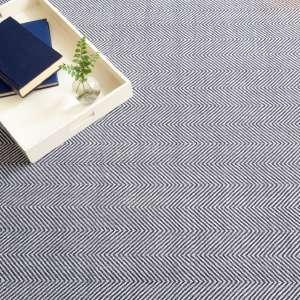 Batiste Navy Woven Wool Custom Rug