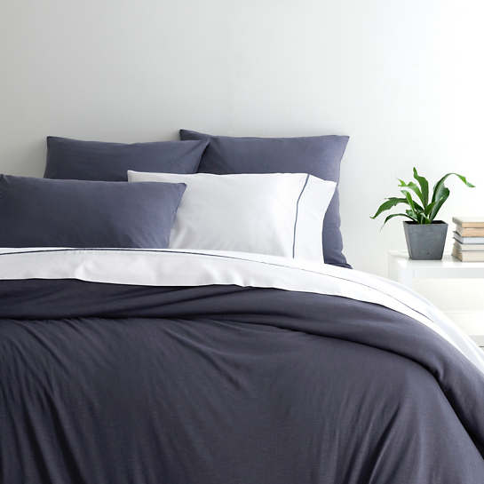Slub Jersey Knit Blue Duvet Cover