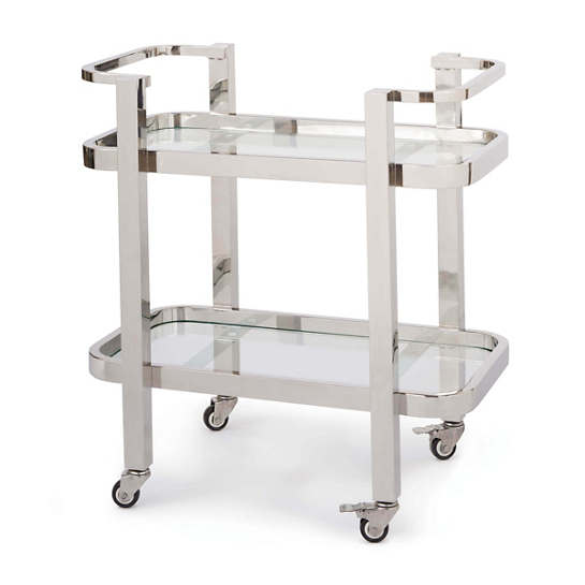 Dallas Polished Nickel Bar Cart