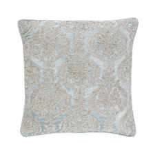 Damask Velvet Embroidered Robin's Egg Blue Decorative Pillow