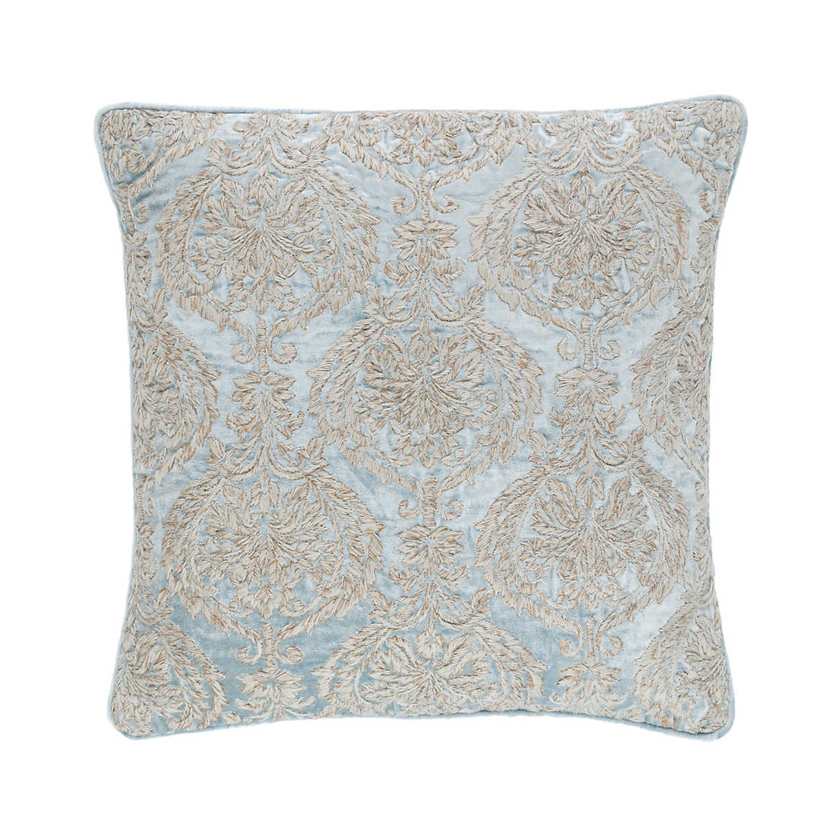 Now 70% Off! Damask Velvet Embroidered Robin s Egg Blue Decorative Pillow a20b3eb9e