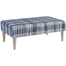 Denim Plaid Plaid Tapered Cerused Oak Leg Rug Ottoman