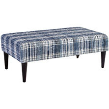 Denim Plaid Plaid Tapered Tobacco Leg Rug Ottoman