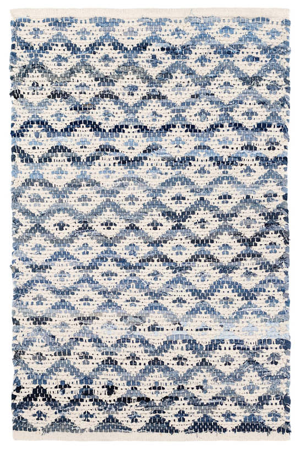 Denim Rag Diamond Ivory Woven Cotton Rug Dash Amp Albert