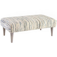Denim Rag Tapered Cerused Oak Leg Square Rug Ottoman