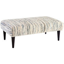 Denim Rag Tapered Tobacco Leg Square Rug Ottoman