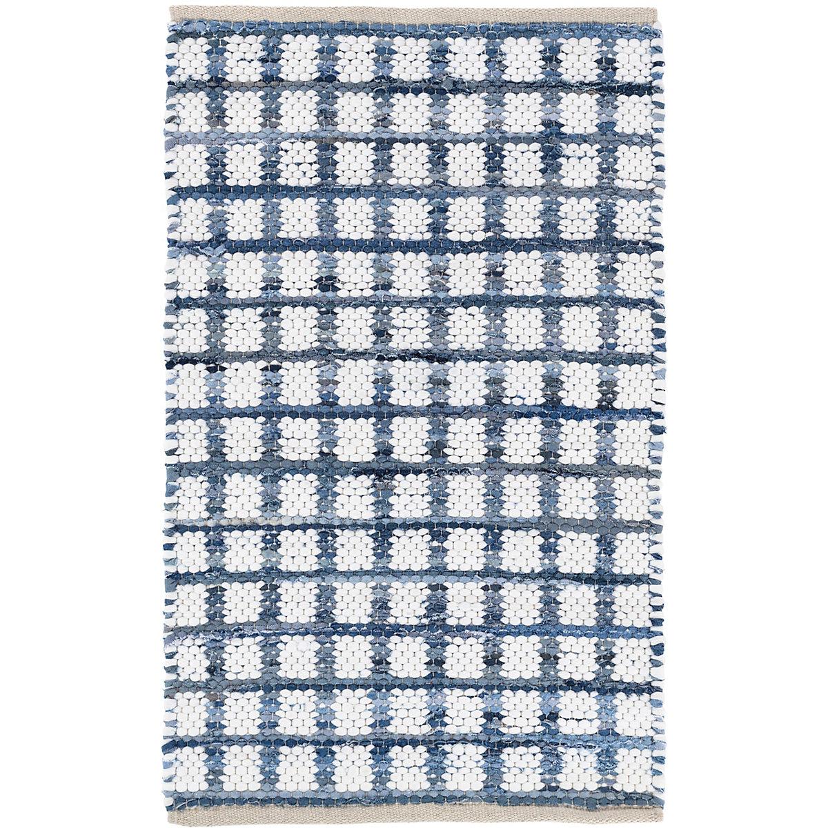 Denim Rag Squares Woven Cotton Rug Dash Amp Albert