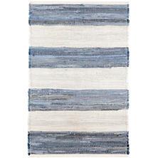 Denim Rag Wide Stripe  Woven Cotton Rug