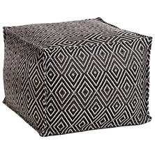 Diamond Black/Ivory Indoor/Outdoor Pouf
