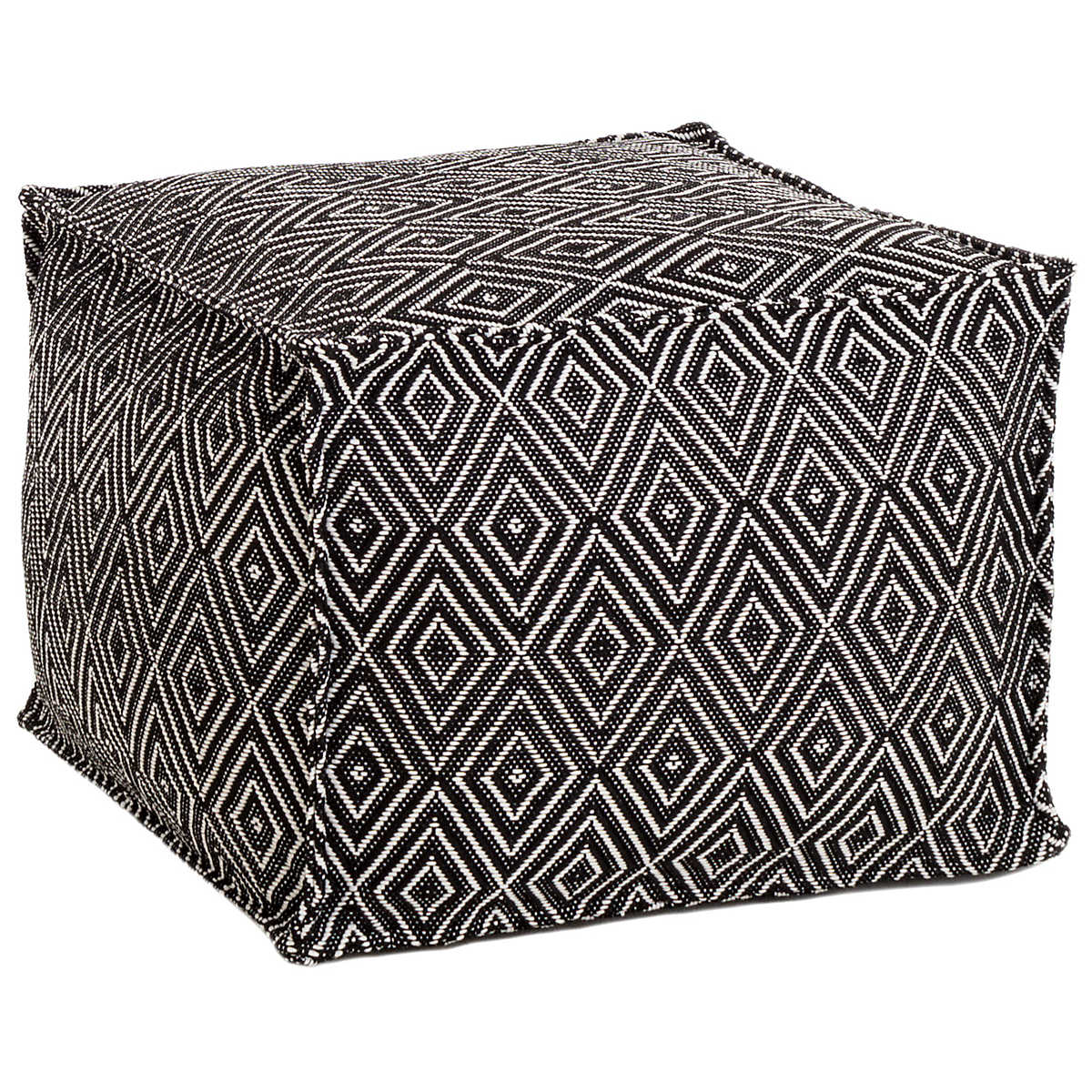 Diamond Black Ivory Indoor Outdoor Pouf Fresh American