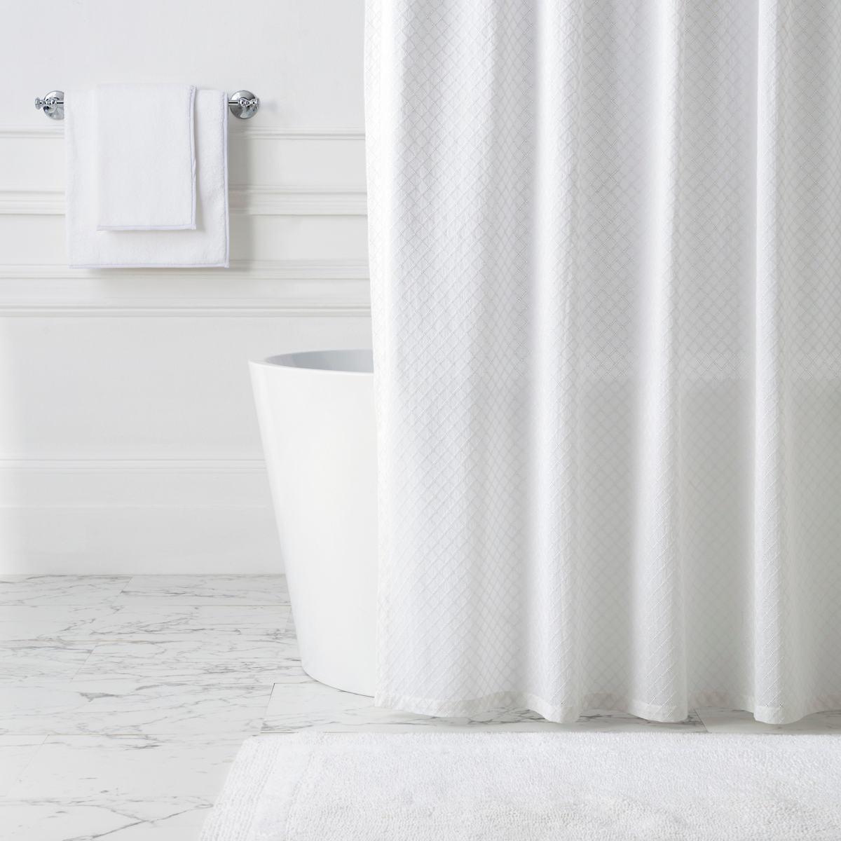 Diamond Eyelet White Shower Curtain