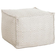 Diamond Platinum/White Indoor/Outdoor Pouf