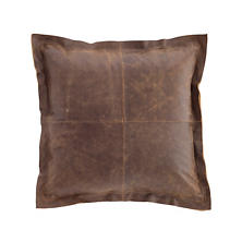 Distressed Leather Vintage Brown Pillow