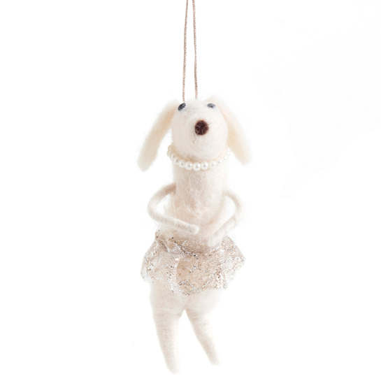 Dog With Pink Tutu Ornament