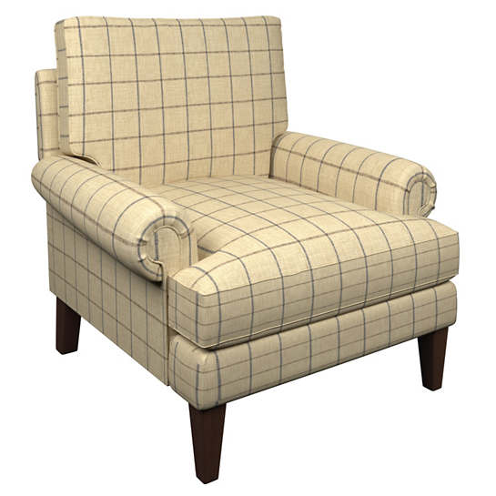 Chatham Tattersall Navy/Brown Easton Chair