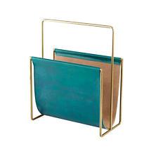 Edward Leather Turquoise Magazine Rack